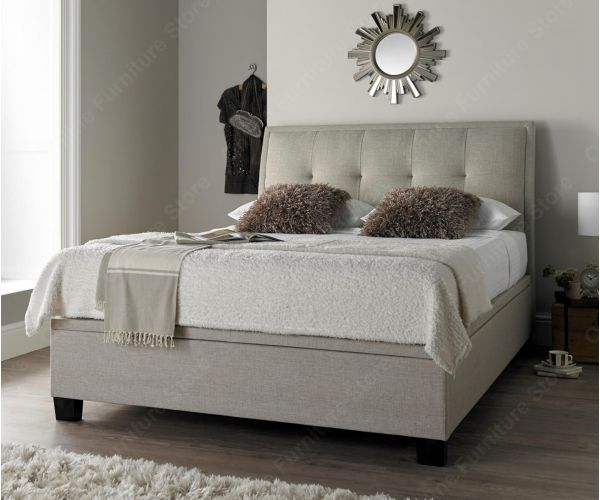 Kaydian Beds Accent Oatmeal Fabric Ottoman Bed Frame