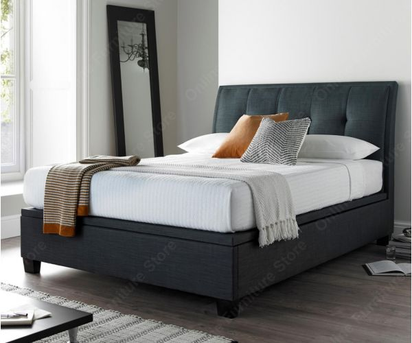 Kaydian Beds Accent Slate Fabric Ottoman Bed Frame