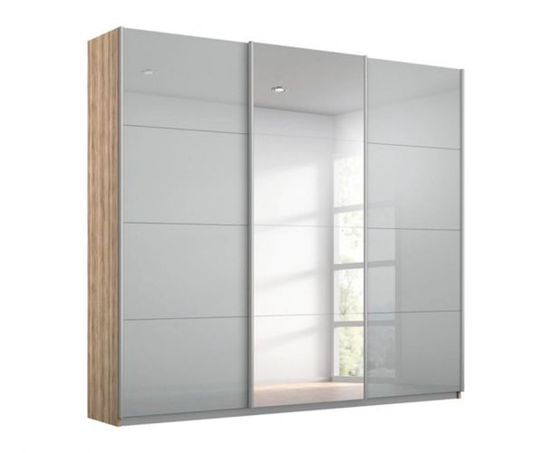 Rauch Kulmbach Silk Grey Glass Front 3 Sliding Glass Door Wardrobe with Chrome Colour Handle Strips(W271cm)