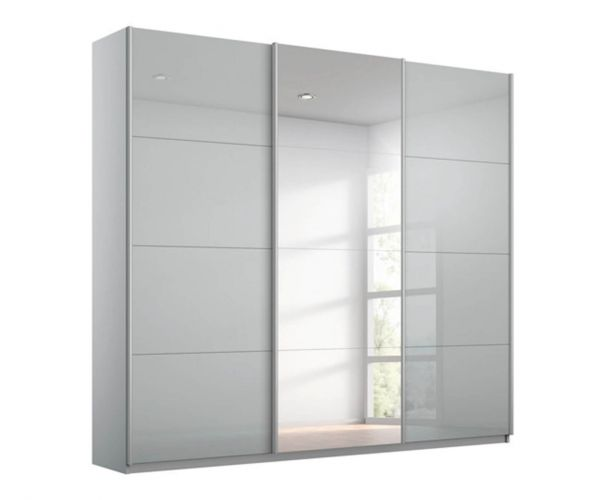 Rauch Kulmbach Silk Grey Glass Front 3 Sliding Glass Door Wardrobe with Carcase Colour Handle Strips(W271cm)