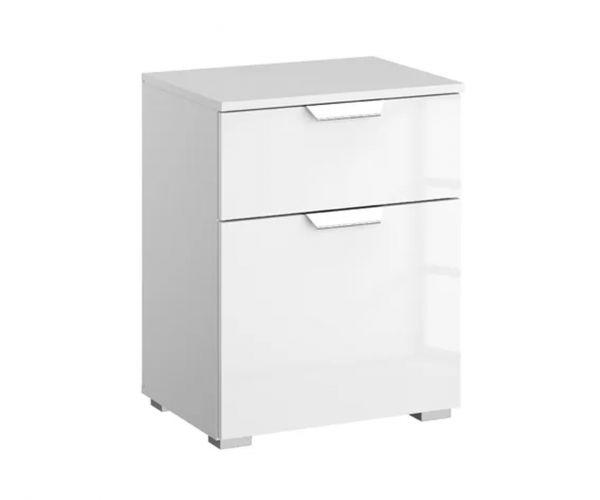 Rauch Aditio 1 Door 1 Drawer Bedside Table with High Polish Soft Grey Front