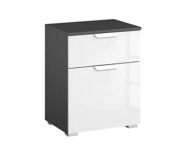 Rauch Aditio 1 Door 1 Drawer Bedside Table with Metallic Grey Front