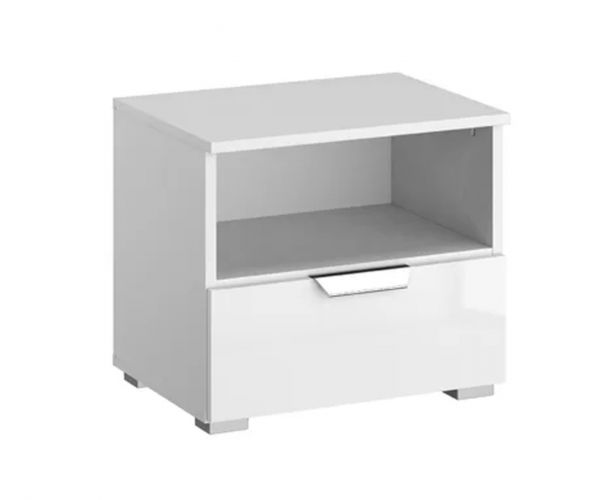 Rauch Aditio 1 Drawer Bedside Table with High Polish Soft Grey Front
