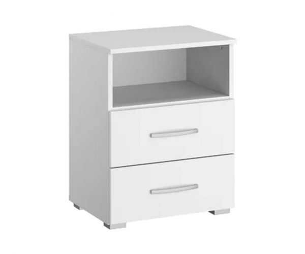 Rauch Aditio 2 Drawer Bedside Table with Shelf and High Polish White Front