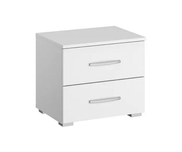 Rauch Aditio 2 Drawer Bedside Table with High Polish White Front