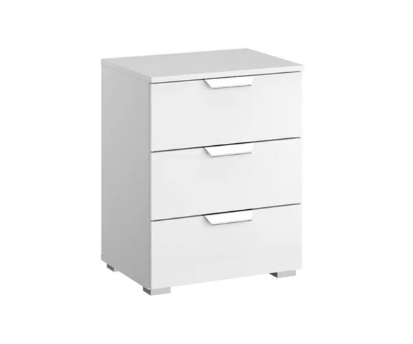 Rauch Aditio 3 Drawer Bedside Table and Glass Silk Grey Front
