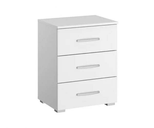 Rauch Aditio 3 Drawer Bedside Table and High Polish Soft Grey Front