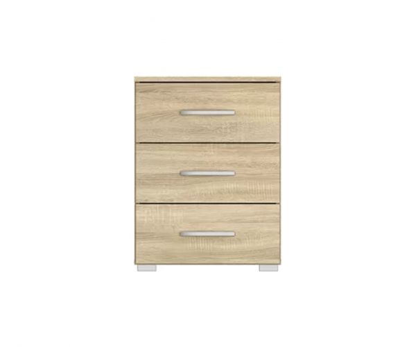 Rauch Aditio 3 Drawer Bedside Table and Wotan Oak Front