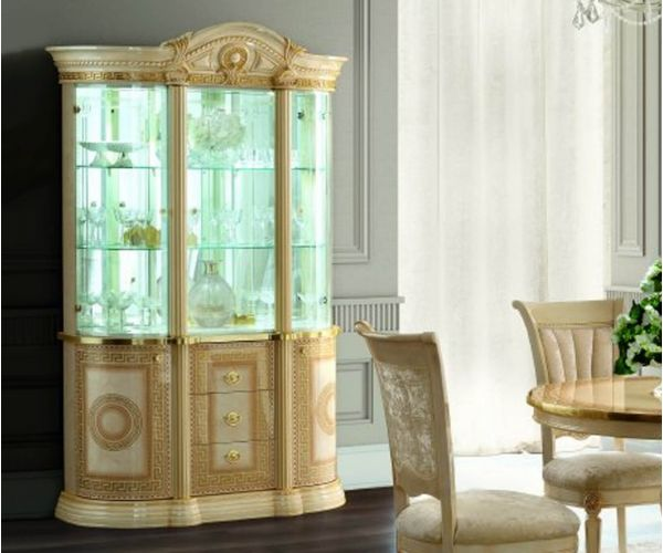 Camel Group Aida Ivory and Gold 3 Door Display Cabinet