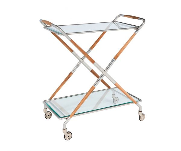 Serene Furnishings Aizawl Clear Tempered Glass and Nickel Drinks Trolley