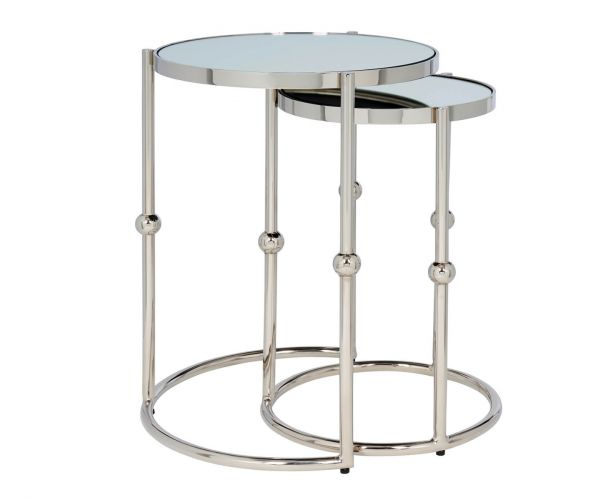 Serene Furnishings Akola Mirrored Top and Nickel Nest of Tables