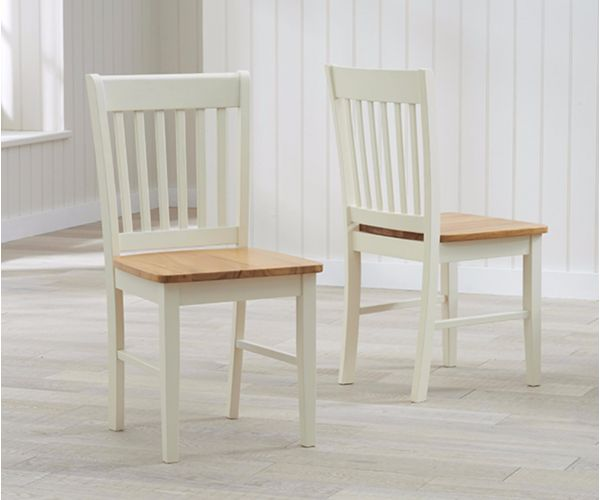Mark Harris Alaska Solid Oak and Cream Dining Chair In Pair