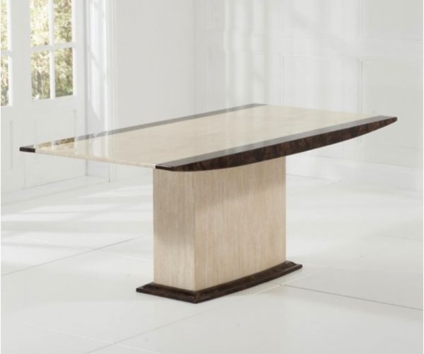 Mark Harris Alba Cream and Brown Marble Dining Table Only