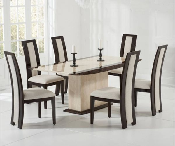 Mark Harris Alba Cream and Brown Marble Dining Table with 6 Rivilino Chairs