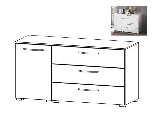 Rauch Aldono Sonoma Oak Carcase with White High Polish Front 1 Left Door 3 Drawer Chest- W 120cm