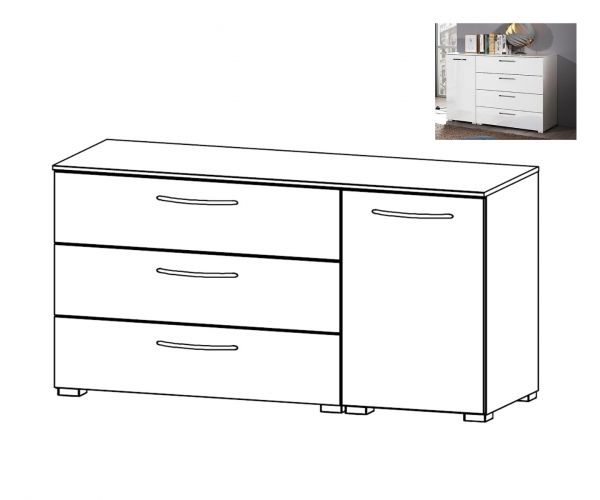 Rauch Aldono Silk Grey Carcase 1 Right Door 3 Drawer Chest- W 120cm