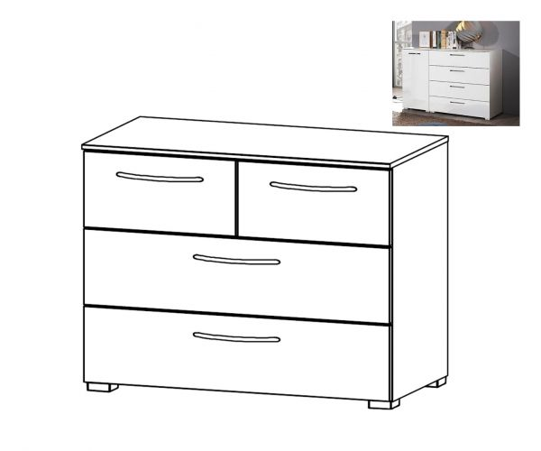 Rauch Aldono Silk Grey Carcase 4 Drawer Chest
