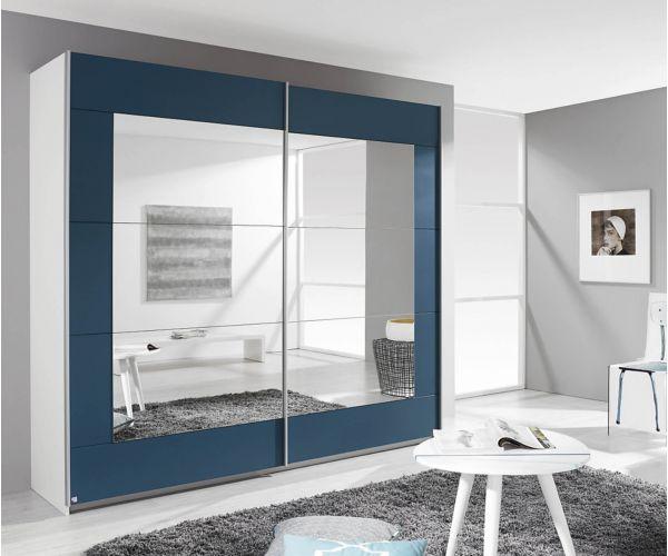 Rauch Alegro Silk Grey Carcase with Sanremo Oak Light Front 2 Sliding Mirror Door Wardrobe (W271cm)