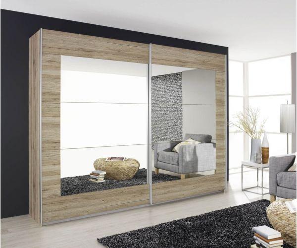 Rauch Alegro Stirling Oak 2 Sliding Mirror Door Wardrobe (W271cm)