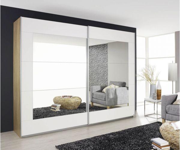 Rauch Alegro Silk Grey Carcase with Sanremo Oak Light Front 2 Sliding Mirror Door Wardrobe (W226cm)