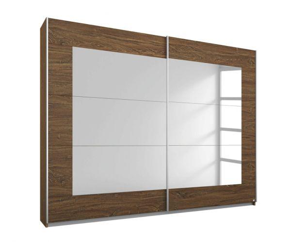 Rauch Alegro Sonoma Oak Carcase with Silk Grey Front 2 Sliding Mirror Door Wardrobe (W271cm)