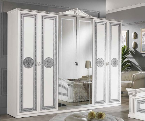 MCS Alexandra White Finish Italian 6 Door Wardrobe