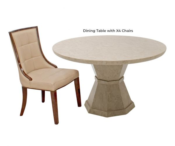Vida Living Alfredo Round Dining Table with 4 Chairs