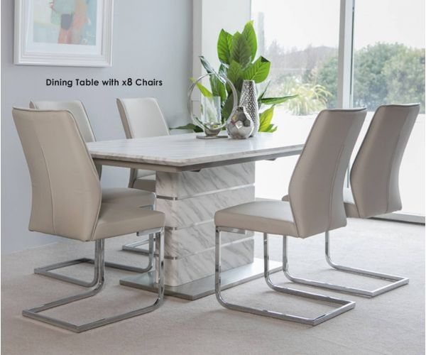 Furniture Line Allure Melamine White Marble Finish Rectangular Dining Set with 8 Seattle Taupe Chairs - 160cm-220cm