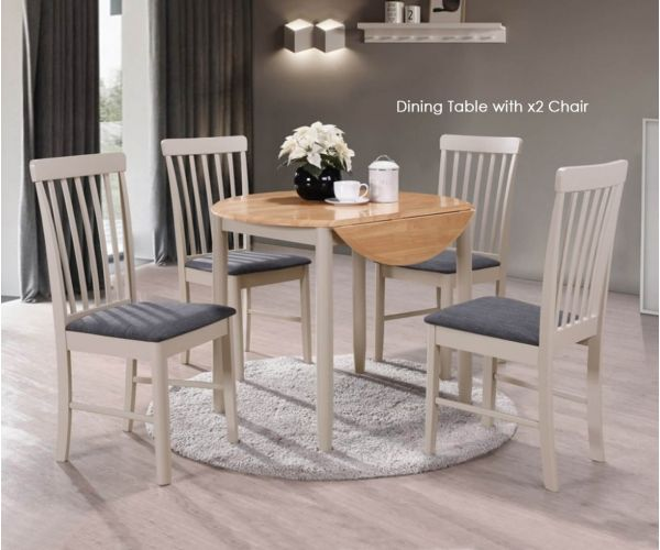 Annaghmore Altona Oak and Stone Grey Round Drop Leaf Dining Table with 2 Chairs
