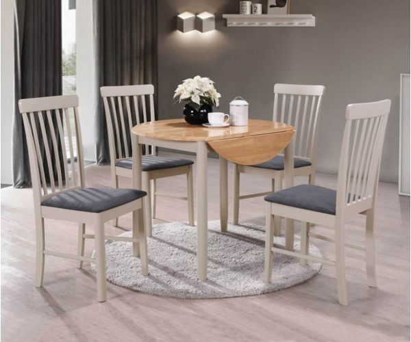 Annaghmore Altona Oak and Stone Grey Round Drop Leaf Dining Table with 4 Chairs