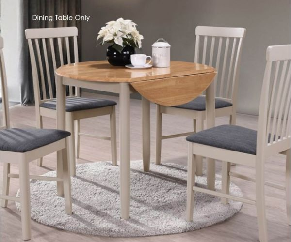 Annaghmore Altona Oak and Stone Grey Round Drop Leaf Dining Table Only