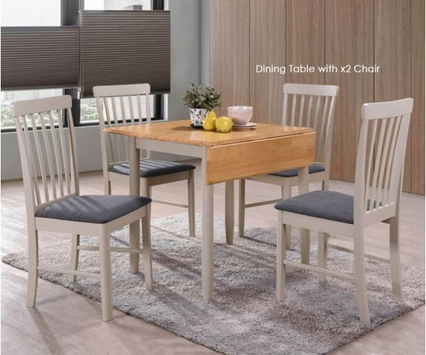 Annaghmore Altona Oak and Stone Grey Square Drop Leaf Dining Table with 2 Chairs