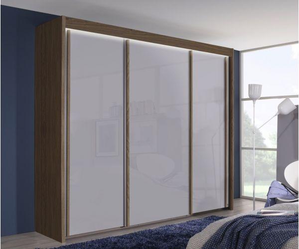 Rauch Amalfi Royal Walnut Colour Carcase with Crystal White Glass Front 3 Sliding Door Wardrobe (H235cm, W225cm)