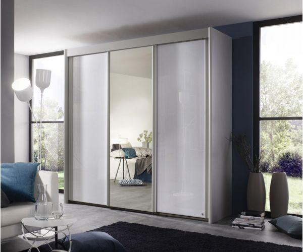 Rauch Amalfi Silk Grey Carcase with Crystal White Glass Front 3 Sliding Door 1 Mirror Wardrobe (H197cm, W225cm)