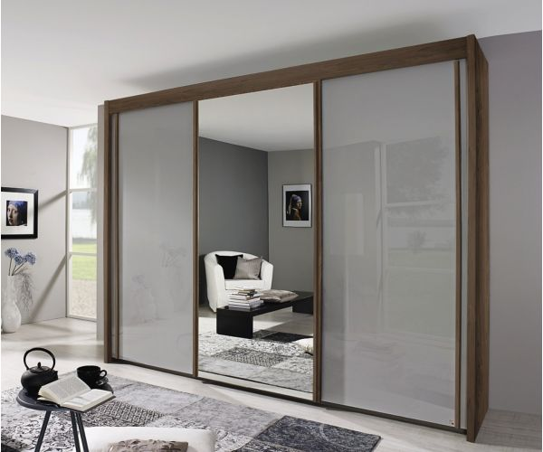 Rauch Amalfi Royal Walnut Colour Carcase with Crystal White Glass Front 3 Sliding Door 1 Mirror Wardrobe (H197cm, W225cm)