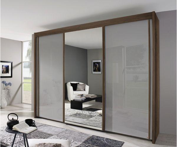 Rauch Amalfi Royal Walnut Colour Carcase with Silk Grey Glass Front 3 Sliding Door 1 Mirror Wardrobe (H197cm, W225cm)