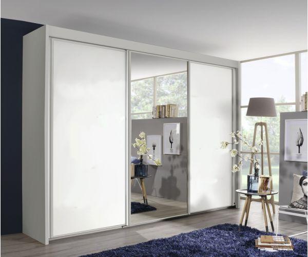 Rauch Amalfi Alpine White Carcase with Alpine White Front 3 Sliding Door 1 Mirror Wardrobe (H223cm, W225cm)
