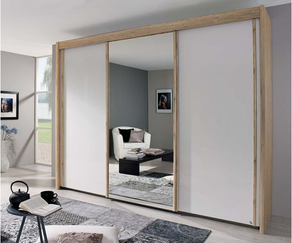 Rauch Amalfi Sanremo Oak Light Colour Carcase with Crystal white Glass Front 3 Sliding Door 1 Mirror Wardrobe (H197cm, W225cm)