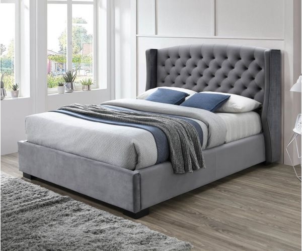 Sareer Ambassador Dark Grey Velvet Bed Frame