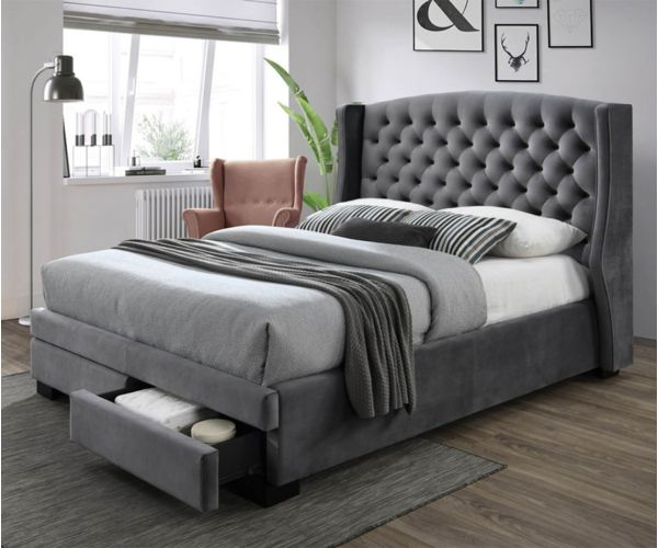 Sareer Ambassador Dark Grey Velvet 2 Drawer Bed Frame
