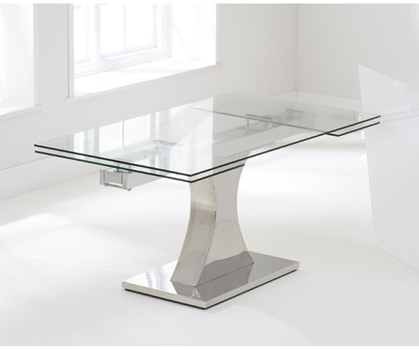 Mark Harris Amber Glass Extending Dining Table Only
