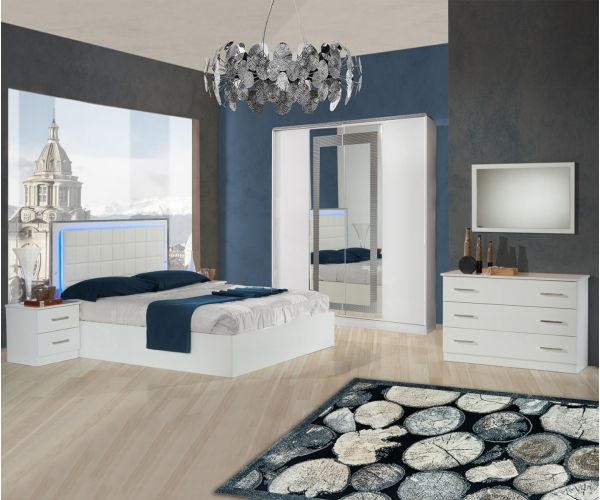 Ben Company Ambra White Finish Bed Group Set with 4 Door Wardrobe