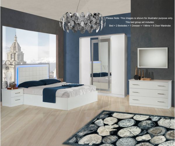 Ben Company Ambra White Finish Bed Group Set with 6 Door Wardrobe