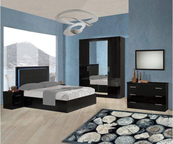 Ben Company Ambra Black Finish Italian Bedroom Set