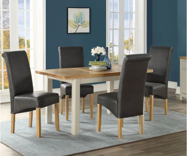 Annaghmore Andorra Painted 120cm Extension Dining Table with 4 Chairs