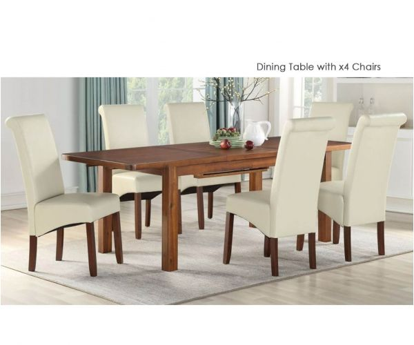 Annaghmore Andorra Acacia 120cm Extension Dining Table With 4 Cream Sophie Dining Chairs