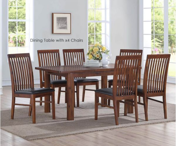 Annaghmore Andorra Acacia 120cm Extension Dining Table with 4 Chairs