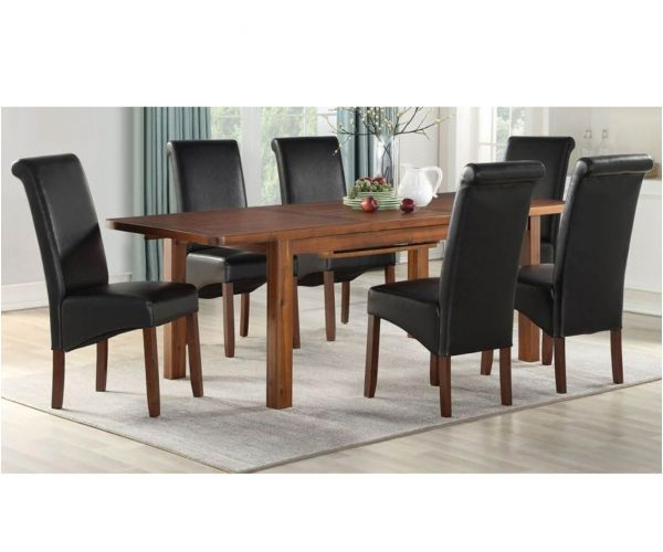 Annaghmore Andorra Acacia 165cm Extension Dining Table with 6 Black Sophie Dining Chairs