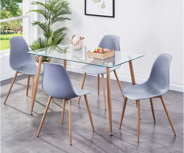 Annaghmore Milana Grey Dining Set with 4 Chairs