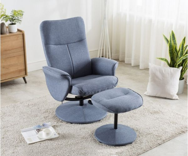 Annaghmore Natalia Blue Lounge Chair with Stool